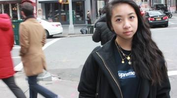 T-Shirt; Supreme - Jacket; J.Crew - Jeans; Acne Studios - Shoes; Converse